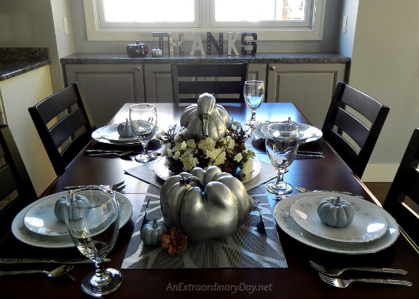 Simple but Spectacular Silver Thanksgiving Centerpiece and Tablescape - AnExtraordinaryDay.net