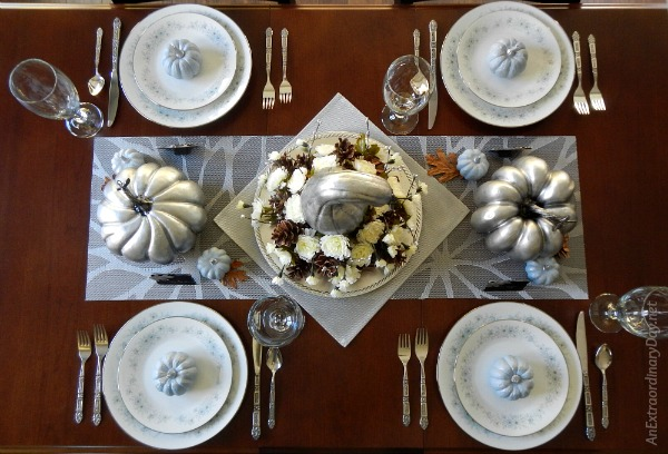 Simple but Spectacular Silver Thanksgiving Centerpiece with Blue and White and Silver China - AnExtraordinaryDay.net