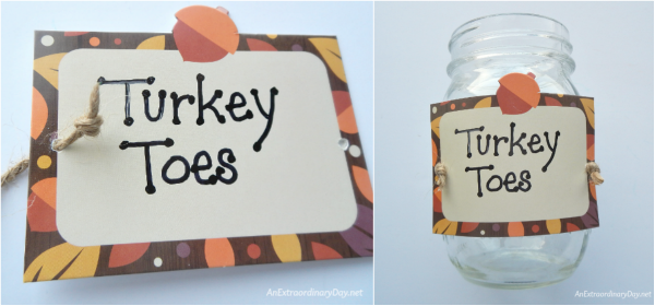 Turkey Toes Sign Tie-On ~ Quick and Fun Mason Jar Gift Project - AnExtraordinaryDay.net