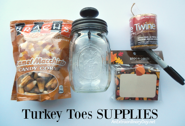 Turkey Toes Supply List - Quick and Fun Mason Jar Project - AnExtraordinaryDay.net