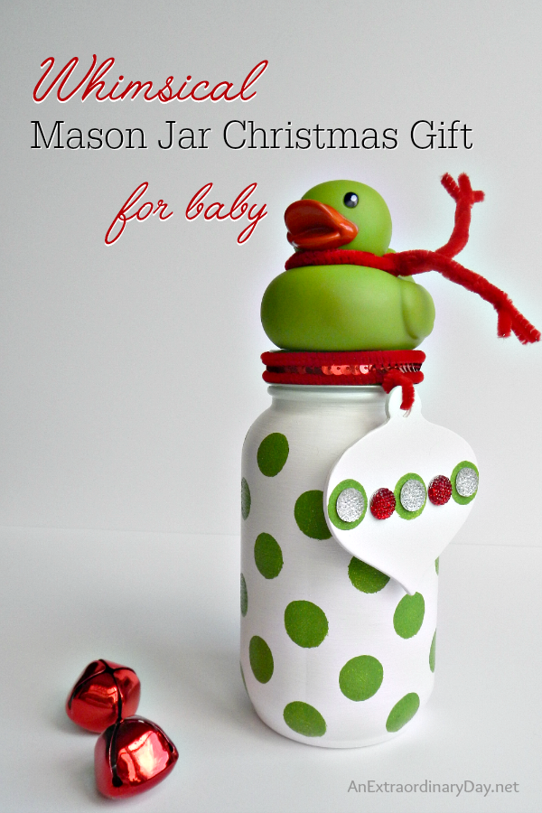Wouldn't you love to receive a gift for Christmas in a Mason Jar? Giving one is even more fun. Today we have 30 Mason Jar Christmas Gift Ideas. Mine is first up with a sweet and whimsical baby gift every new mama-to-be would love and includes a complete tutorial so you can make one too.
