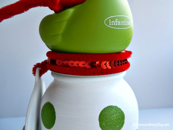 Whimsical Mason Jar Christmas Gift for Baby Girl - Jar lid Christmas Trim - AnExtraordinaryDay.net