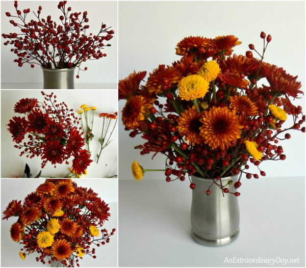 Wishing for Comforts from Home at the Holidays ~ Arranging fresh flowers for the table.