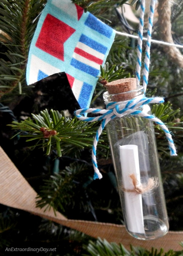 A Message in a Bottle is one of Several Unique Ways to Decorate a Nautical Christmas Tree