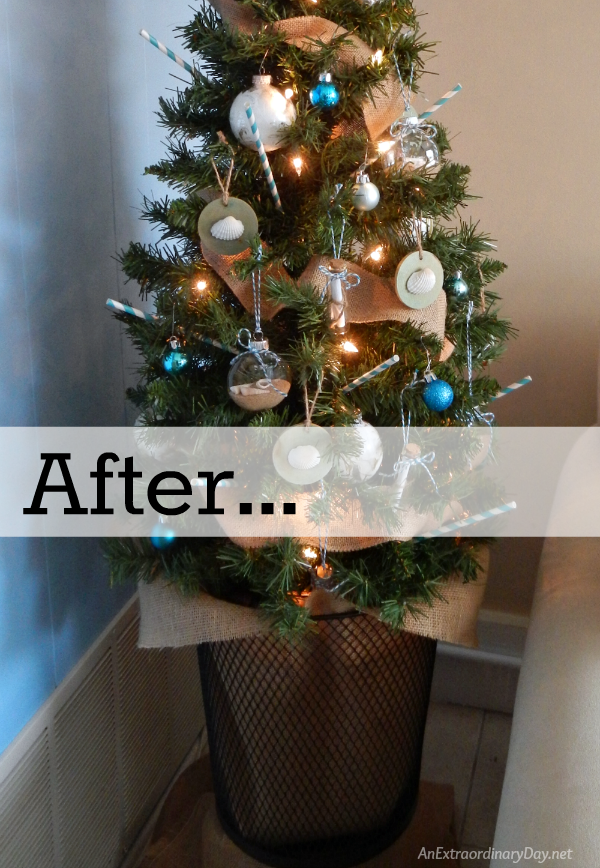 Christmas Tree Elegant with Fresh Flowers Starting with the Base using a Wastebasket and Burlap