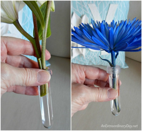 Floral water tubes for the keeping the flowers fresh for your Christmas Tree Elegant with Fresh Flowers