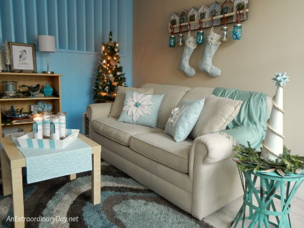 My Simple to Make Coastal Christmas Decor Corner is Comfy and Cozy for the Holidays - AnExtraordinaryDay.net