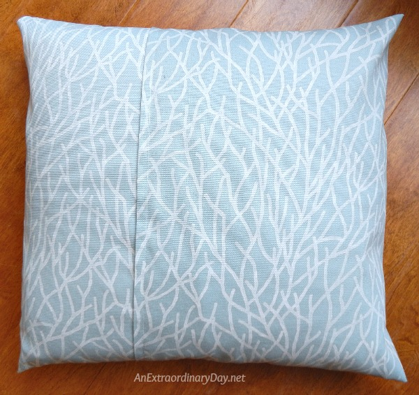 My Simple to Make Coastal Christmas Decor - Finished Pillow Cover from Back - AnExtraordinaryDay.net