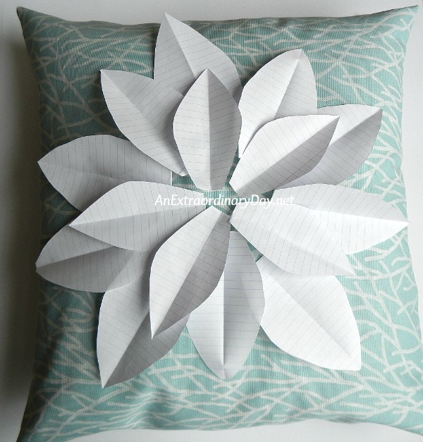 My Simple to Make Coastal Christmas Decor Poinsettia Pillow Cover Sewing Tutorial - Cut Paper Poinsettia Petals to get a feel for the size for your project - AnExtraordinaryDay.net