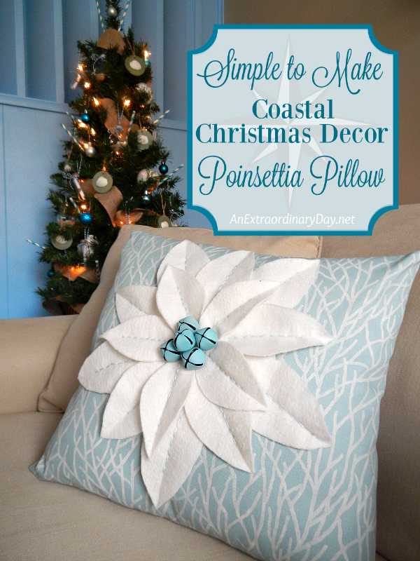 Freshen your Christmas decor this year with EASY-to-MAKE Poinsettia Pillows! These have a coastal twist. Click through for the tutorial and discover a sweet Coastal Christmas Corner.
