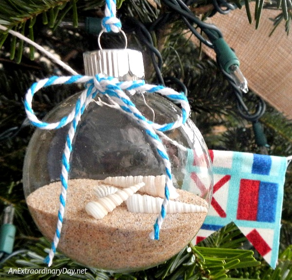 Unique Ways to Decorate a Nautical Christmas Tree by Filled Plain Glass Ornaments with Sand and Shells