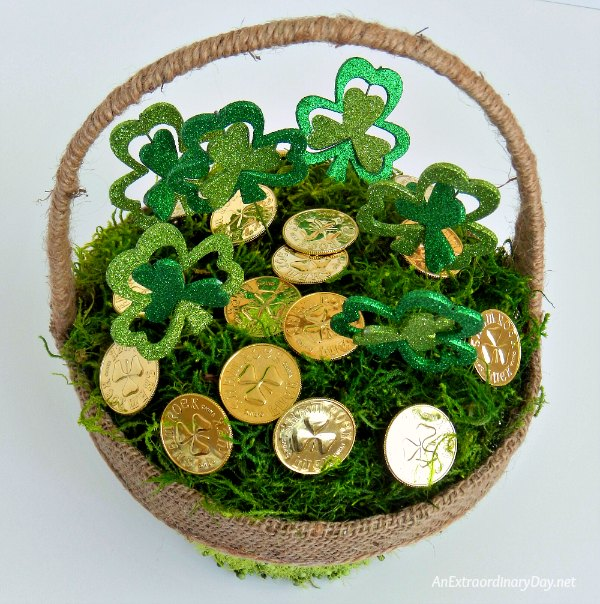 Gold and Shamrocks fill this Easy to Make St. Patrick's Day Basket