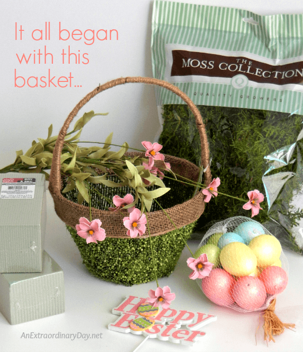 It all began with this basket ~ Make a Lovely Mossy Easter Basket