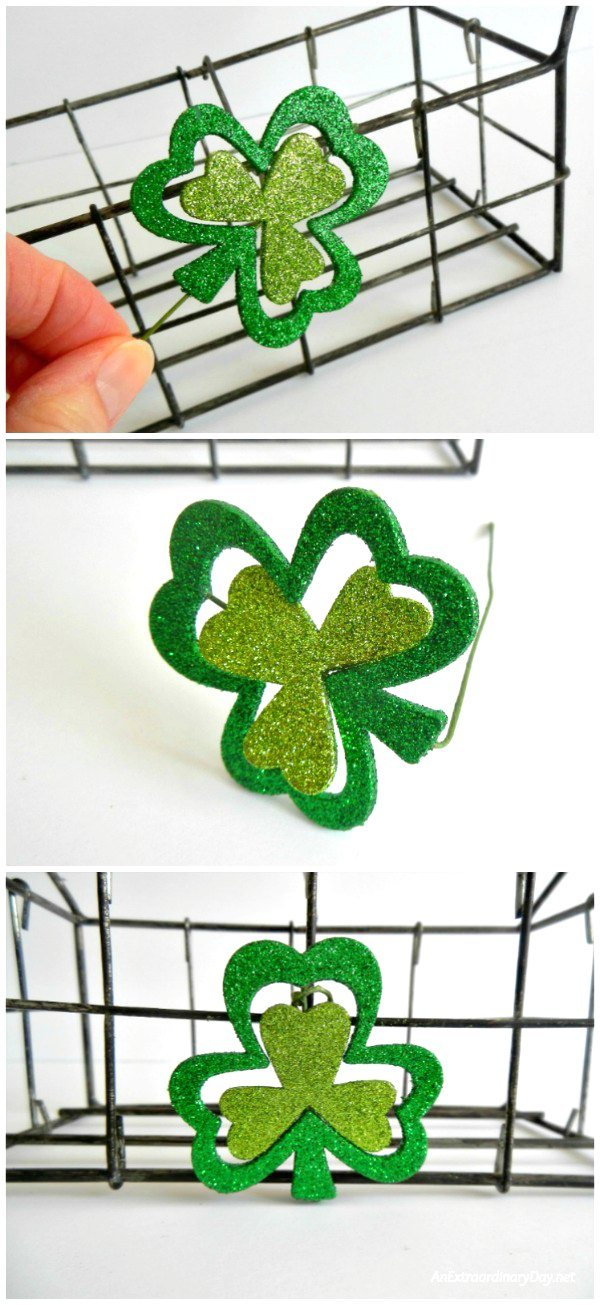 Shamrock Pick to Decorate this St. Patrick's Day Mason Jar Wire Basket - A