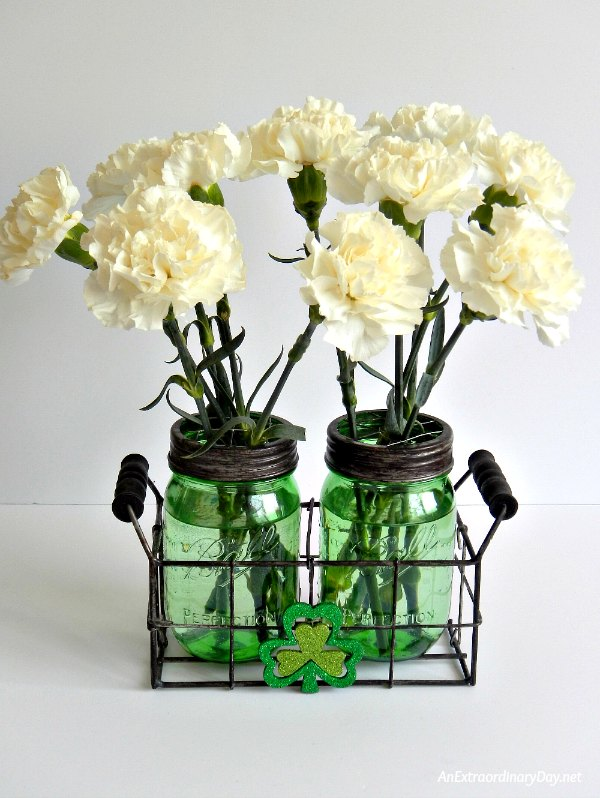 Spread St. Patrick's Day Mason Jar Happiness with Flowers and Fun