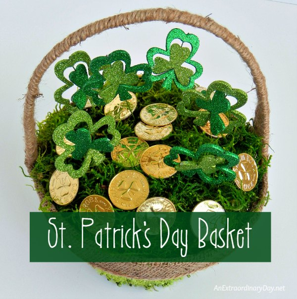St. Patrick's Day Basket filled with Shamrock Picks and Gold Coins