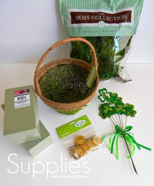 Supplies for Making a St. Patrick's Day Shamrock and Gold Basket