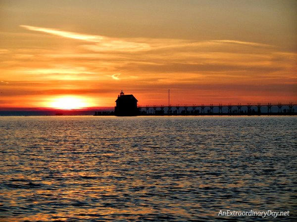 Meditating on God's Word at Sunset - Grand Haven Light on Lake Michigan - AnExtraordinaryDay.net