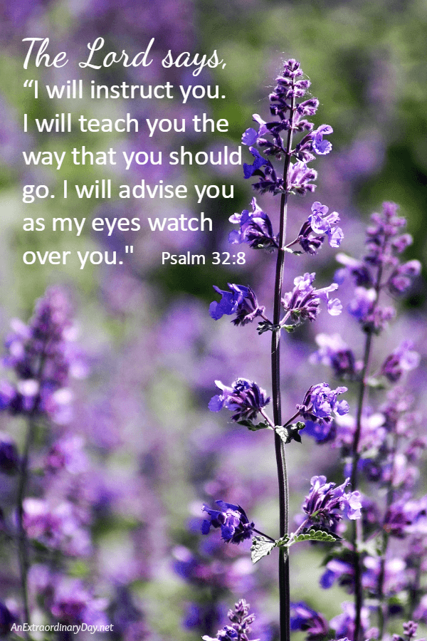 "The Lord says, ""I will instruct you. I will teach you the way that you should go. I will advise you as my eyes watch over you. Psalm 32:8"