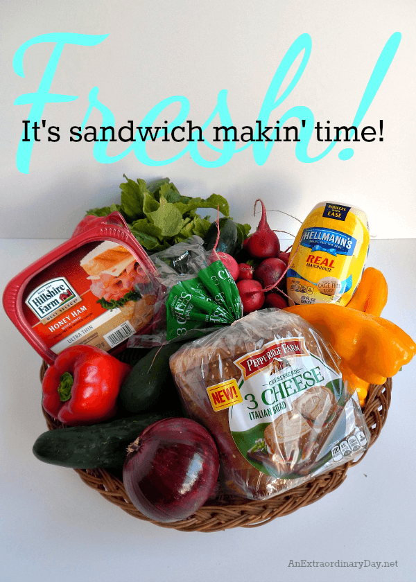 It's sandwich makin' time with Pepperidge Farm and all this fresh produce from the farmer's market. Click through to the recipe for a simple summer stacked sandwich from AnExtraordinaryDay.net