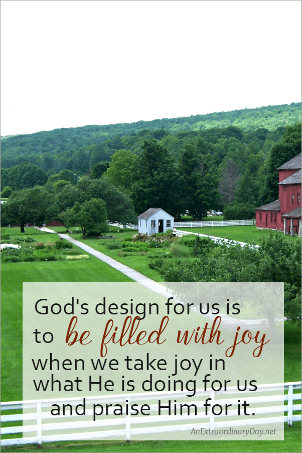 God's design for us is to be filled with joy ~ Inspiration quote and image from a devotional on how to get happiness from AnExtraordinaryDay.net