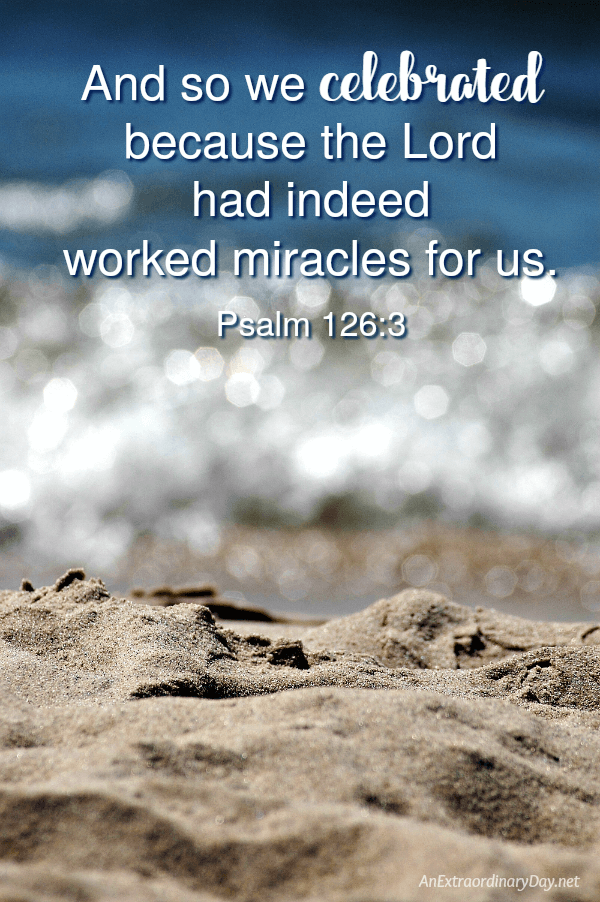 Psalm 126:3 Scripture Quote on JOY - (And so we celebrated because the Lord had indeed worked miracles for us.) Inspiration from AnExtraordinaryDay.net
