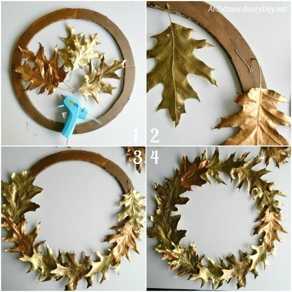 Assemble the gold oak leaf wreath with hot glue adding the leaves in layers - AnExtraordinaryDay.net