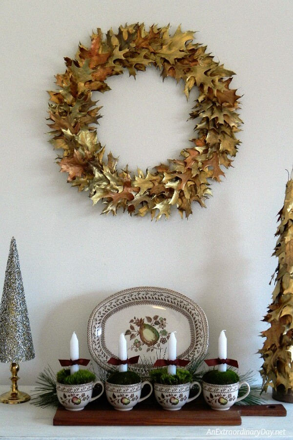 Beautiful Handmade Christmas Wreath Made of Gilded Oak Leaves - AnExtraordinaryDay.net