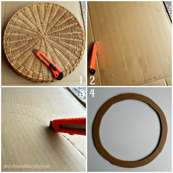 Create a basket for your oak leaf wreath with a heavy piece of cardboard - AnExtraordinaryDay.net