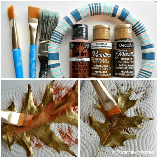 Enhance the gold of the oak leaves by topping the leaves with other shades of gold - AnExtraordinaryDay.net