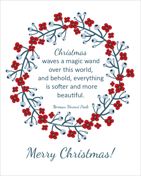 Framed Art Prints are perfect Christmas Decorations. Download this lovely and FREE Printable Christmas Norman Vincent Peale QUOTE here >>>