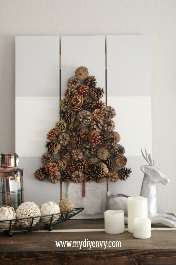 Beautiful Pine Cone Christmas Tree Wall Art by My DIY Envy