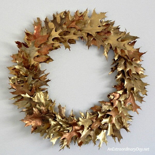 Stunning Gold Oak Leaf Christmas Wreath is perfect for Thanksgiving, too - AnExtraordinaryDay.net