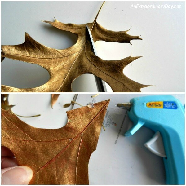 Trim the stem and even cut a point at the base of the leaves to make assembly of the gold leaves easier - AnExtraordinaryDay.net
