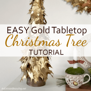 Easy Gold Oak Leaf Tabletop Christmas Tree Tutorial - AnExtraordinaryDay.net