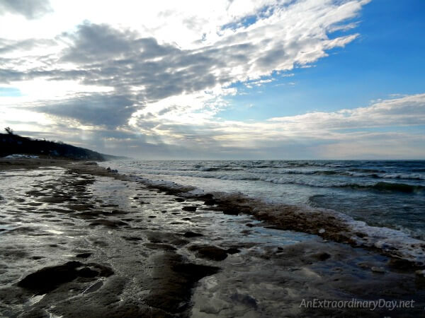 Early winter on the shores of Lake Michigan - A New Year's Inspirational Post - AnExtraordinaryDay.net