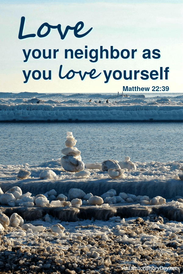 Love your neighbor as you love yourself - Scripture verse graphic