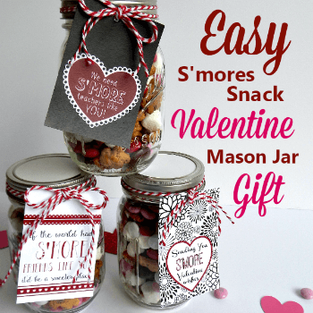S'mores Snack Valentine Gift in a Mason Jar