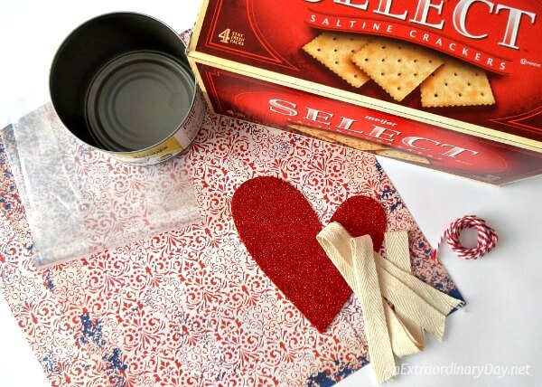 Supplies for creating a Valentine gift box for food