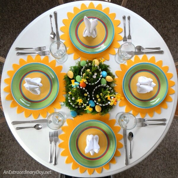 Bright and cheerful daffodil inspired Easter Tablescape