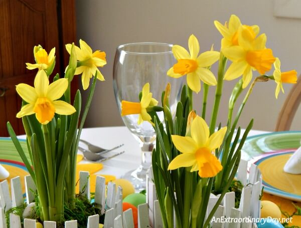 Daffodils are the sunshine to this stunning but inexpensive Easter Centerpiece
