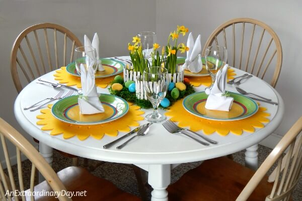 Set a colorful table for Easter - make your own inexpensive centerpiece and dollar store dishes