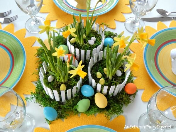 This darling Easter centerpiece was created inexpensively using recycled materials and everyday items