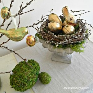 Create the most amazing moss covered Easter eggs with this tutorial and be inspired with this elegant and whimsical Spring vignette