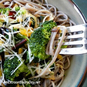 Make this rustic swiss chard and garlic vegetable medley over soba noodles - AnExtraord