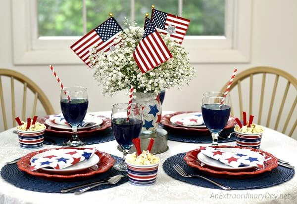 Festive 4th of July Tablescape that's Quick and Easy