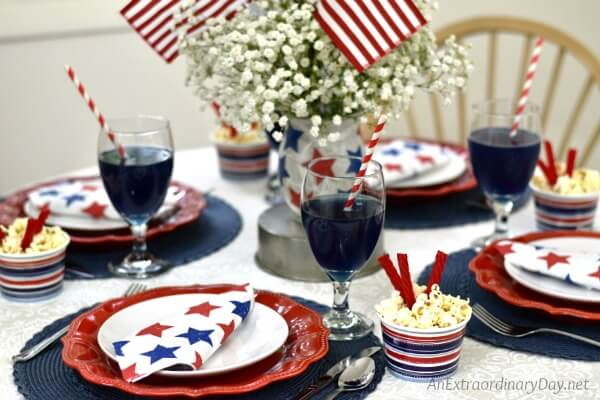 Red White and Blue Table Setting to Celebrate the Independence Day