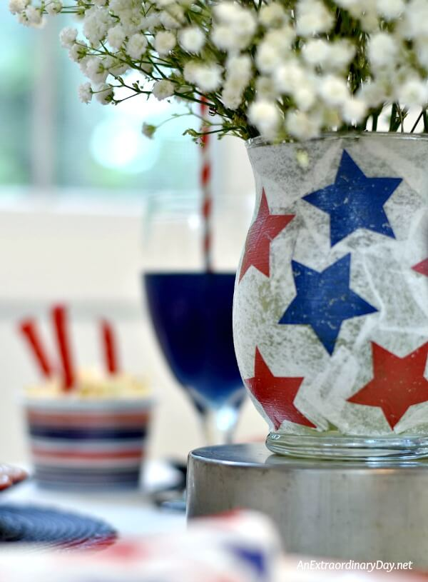 You can make a plain vase dazzle with stars for the 4th with a little ModPodge