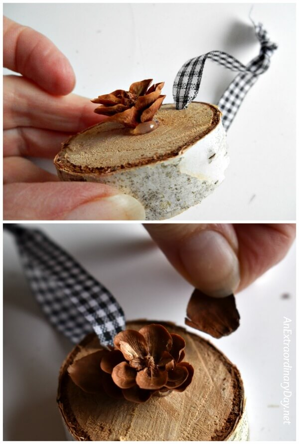 Make tiny wood flowers from pine cones for these handmade Christmas ornaments