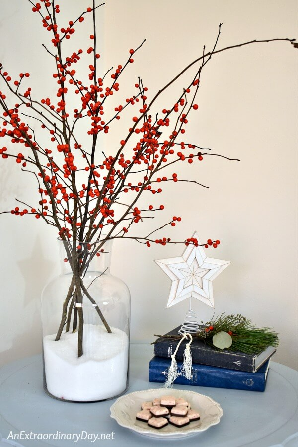 Christmas Vignette and Tips for Small Space Christmas Decorating